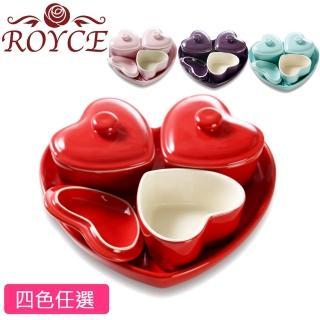 【ROYCE英國皇家玫瑰】耐熱鑄模陶瓷烤盅-心形4件組