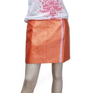 【BALENCIAGA】優雅緞面側邊金蔥短裙(橘-38 192959-9000)