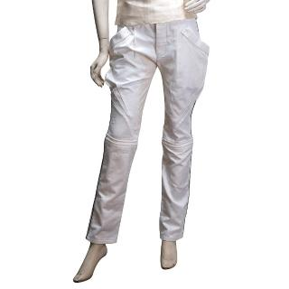 【BALENCIAGA】美型車工黑線側邊棉質修身長褲(白208309-9778)