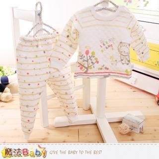 【魔法Baby】寶寶居家套裝 專櫃款超厚三層棉極暖睡衣套裝(k60168)