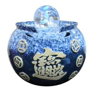 【瑰麗寶-買就送-2-3kg鹽燈】中型招財進寶雷射流水8cm滾球組-湛藍