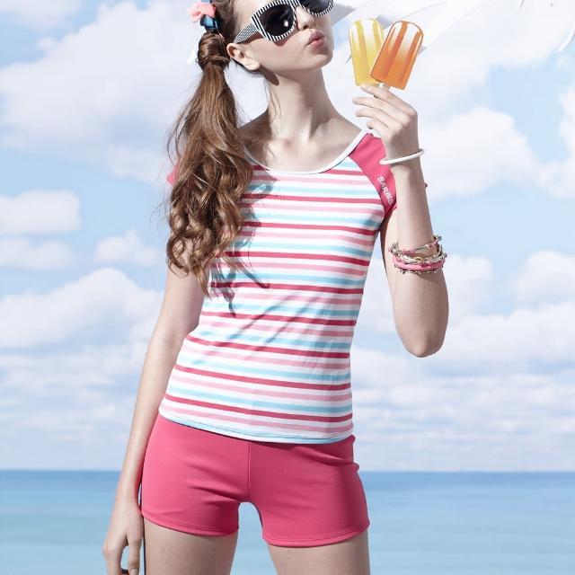 【好物分享】MOMO購物網【沙兒斯】橫紋肩袖二截式女泳裝(B92660-07)評價怎樣momo客服中心電話