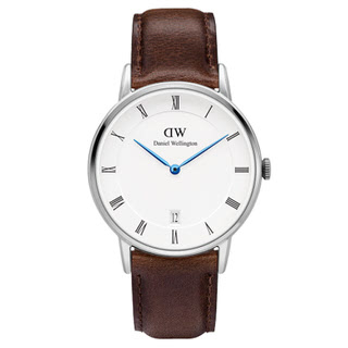 【DW Daniel Wellington】Dapper時尚棕色皮革腕錶-銀框/34mm(1143DW)