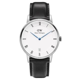 【DW Daniel Wellington】Dapper時尚黑色皮革腕錶-銀框/34mm(1141DW)