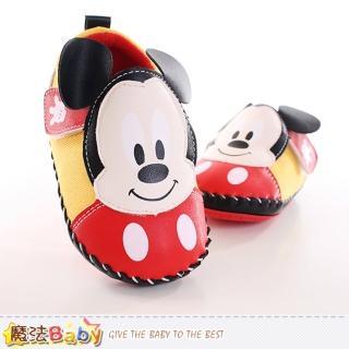【魔法Baby】12.5-15cm 寶寶鞋 迪士尼米奇正版真皮中底專櫃款(sh9880)