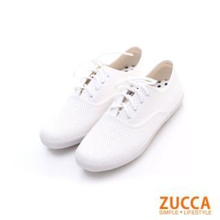 【ZUCCA】雅痞風紋軟皮繫帶休閒鞋Z5827WE-白色