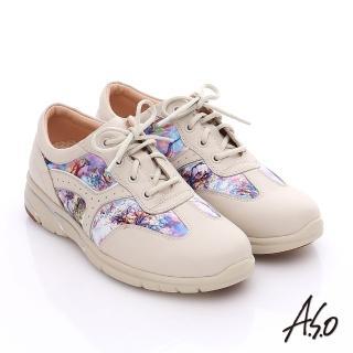 【A.S.O】紓壓耐走 全牛皮拼接山水畫奈米休閒鞋(米)