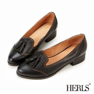 【HERLS】全真皮復古刷色流蘇樂福鞋(黑色)