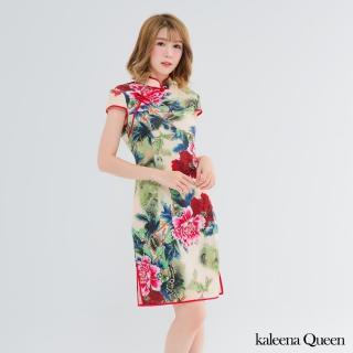 【Kaleena Queen-中大尺碼】牡丹花棉柔修身旗袍(米黃)
