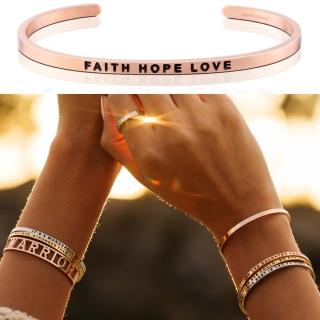 【MANTRABAND】美國悄悄話手環 Faith Hope Love 信念希望愛 玫瑰金(悄悄話手環)