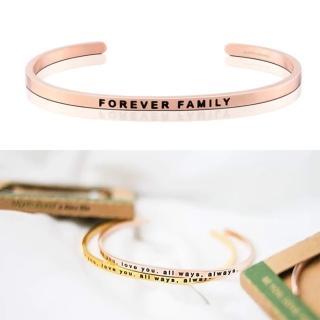 【MANTRABAND】美國悄悄話手環 FOREVER FAMILY 永遠的家人 玫瑰金(悄悄話手環)