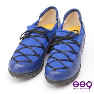 【ee9】ee9 MIT經典手工-率性風格靚亮異材質併接繫帶休閒跟鞋-藍色(休閒跟鞋)