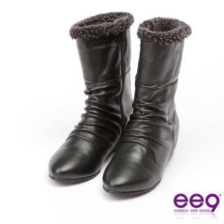 【ee9】MIT經典手工-質感簡約抓皺內增高百搭中筒靴*黑色(中筒靴)