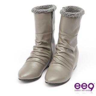 【ee9】MIT經典手工-質感簡約抓皺內增高百搭中筒靴*灰色(中筒靴)