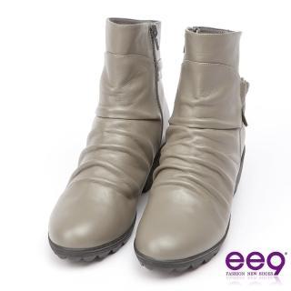 【ee9】MIT經典手工-率性風格自然抓皺晶鑽飾扣粗跟百搭短筒靴-灰色(短筒靴)