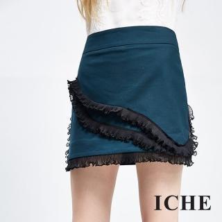 【ICHE 衣哲】荷葉飾邊疊層短裙