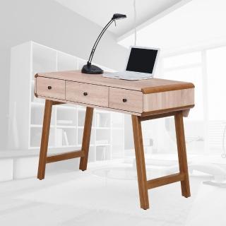 【樂和居】克洛斯白橡色3.5尺三抽書桌(邊條+腳架全實木製)