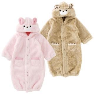 【日本 Nishiki】厚絨毛兩穿式長袖連身裝 - 暖棕/粉紅 二款可選(P5338)