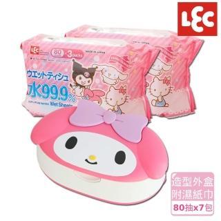 【日本LEC】Melody純水99.9%濕紙巾超值組(造型外盒+80抽x7包)