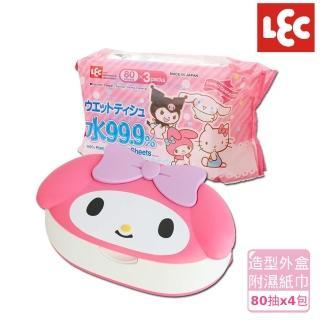 【日本LEC】Melody純水99.9%濕紙巾便利組(造型外盒+80抽x4包)