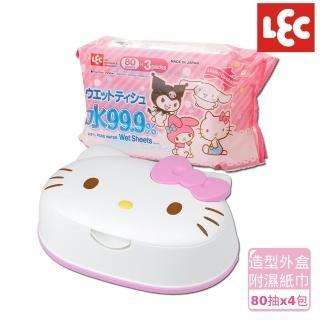 【日本LEC】KITTY純水99.9%濕紙巾便利組(造型外盒+80抽x4包)