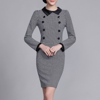 【BRIGA-SILK-C47】BRIGA-SILK-C47設計師款修身顯瘦優雅氣質娃娃領OL通勤連衣裙(SILK-C47)