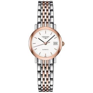 【LONGINES】浪琴 Elegant 優雅系列機械女錶-銀x雙色/25.5mm(L43095127)