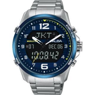 【劉以豪背刻特別款 ALBA】雅柏 W兩個世界雙顯限量腕錶-藍/44mm(N021-X004BAZ4025X1)