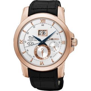 【SEIKO】精工 Kinetic 萬年曆大視窗腕錶-銀x玫瑰金框/41mm(7D48-0AR0PSNP138J1)