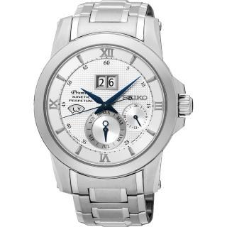 【SEIKO】精工 Kinetic 萬年曆大視窗腕錶-銀/41mm(7D48-0AR0SSNP133J1)