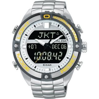 【ALBA】雅柏 W兩個世界雙顯腕錶-銀灰圈/44mm(N021-X003YAZ4019X1)