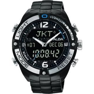 【ALBA】雅柏 W兩個世界雙顯腕錶-黑/44mm(N021-X002SDAZ4015X1)