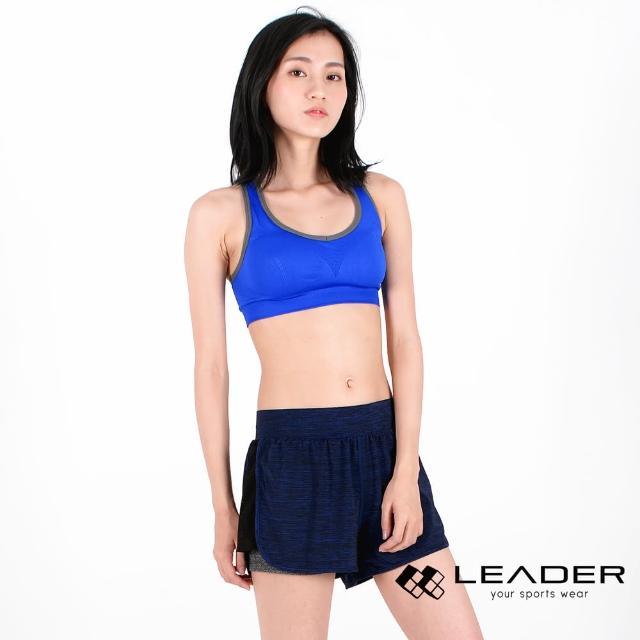 【私心大推】MOMO購物網【LEADER】FTS-104假兩件 彈性吸排運動短褲 女款(深藍)效果富邦電視購物
