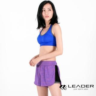 【LEADER】FTS-104假兩件 彈性吸排運動短褲 女款(紫桃)