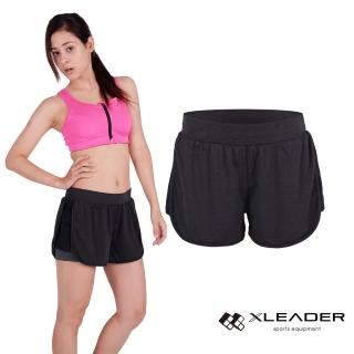 【LEADER】FTS-104假兩件 彈性吸排運動短褲 女款(黑灰)