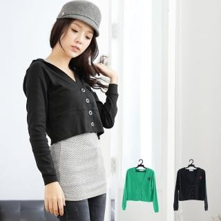 【衣心衣意中大尺碼】短版羅紋外套帽T(黑-綠A1122)