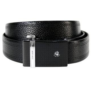 【SINA COVA】老船長直條銀黑格紋自動扣牛皮紳士皮帶(SC11607-1黑)