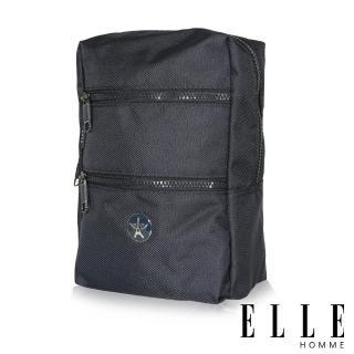 【ELLE HOMME】巴黎風輕旅商務休閒多功能單肩後背包(藍 EL83489-08)
