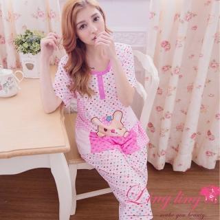 【lingling日系】PA2912全尺碼-格紋愛心草莓兔孕婦裝居家短袖二件式睡衣組(浪漫粉紫)