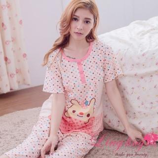 【lingling日系】PA2912全尺碼-格紋愛心草莓兔孕婦裝居家短袖二件式睡衣組(淺桔粉)