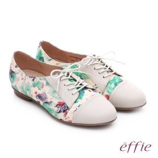 【effie】輕量抗震 真皮印花綁帶牛津休閒鞋(桃粉紅)