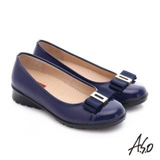 【A.S.O】挺麗氣墊 鏡面牛皮蝴蝶結飾奈米氣墊鞋(藍)