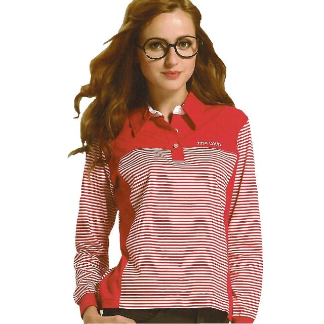【好物推薦】MOMO購物網【義大利 SINA COVA】女版運動休閒吸濕排汗電腦條紋長POLO衫(紅)好用嗎momo服務電話
