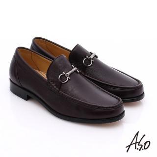 【A.S.O】尊榮青紳 柔軟鹿皮雙釦環紳士鞋(酒紅)