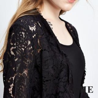 【ICHE 衣哲】3D透視蕾絲拼接針織外套