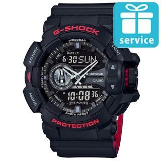 【CASIO】G-SHOCK 絕對強悍黑與紅系列科技雙顯錶(GA-400HR-1A)