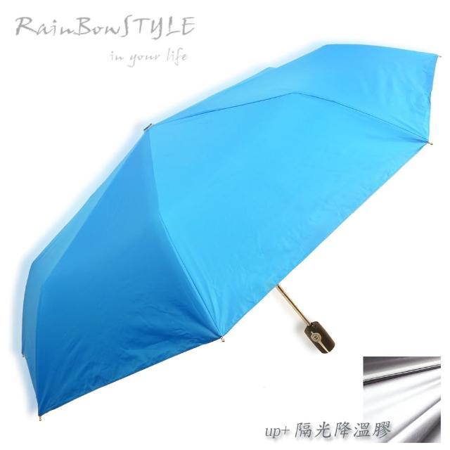 【真心勸敗】MOMO購物網【RainBow】經典款_PLUS升級版 - 抗UV自動晴雨傘(寶藍)推薦momo加入會員