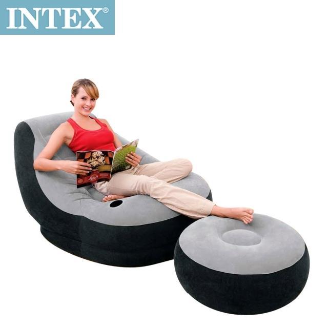 【私心大推】MOMO購物網【INTEX】懶骨頭-單人充氣沙發椅附腳椅(灰色)評價怎樣momo旅遊台