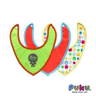 【PUKU藍色企鵝】Smile彈性領巾圍兜3入