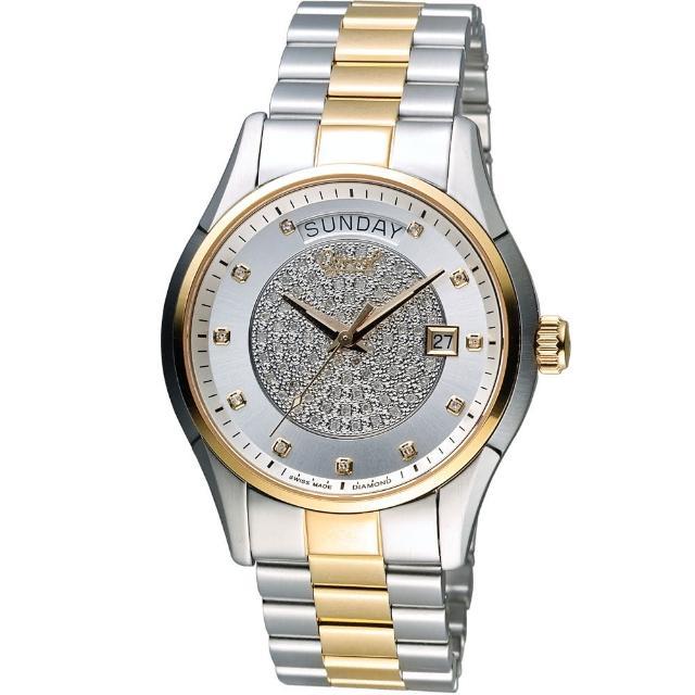 【愛其華 Ogival】豪氣鑽石自動機械腕錶(3357-6AJMSR 雙色ti客服)